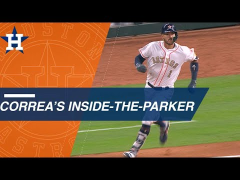 Carlos Correa races around the bases for an inside-the-park home run