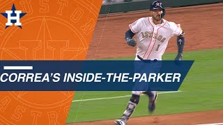 Carlos Correa races around the bases for an inside-the-park home run