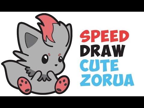 speed drawing cute chibi kawaii zorua from pokemon with easy steps