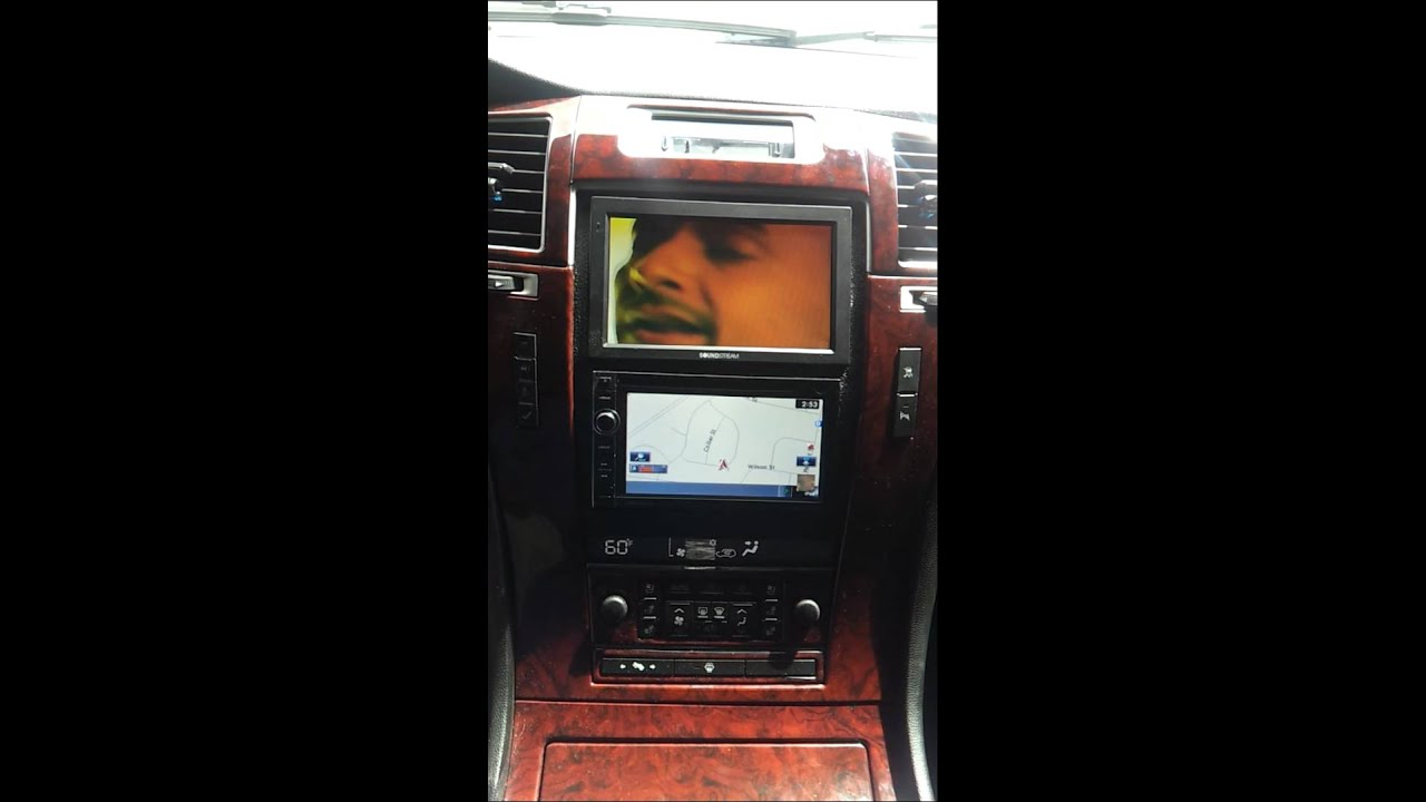 Escalade With A Custom Dash 7 Inch Screen With Double Din