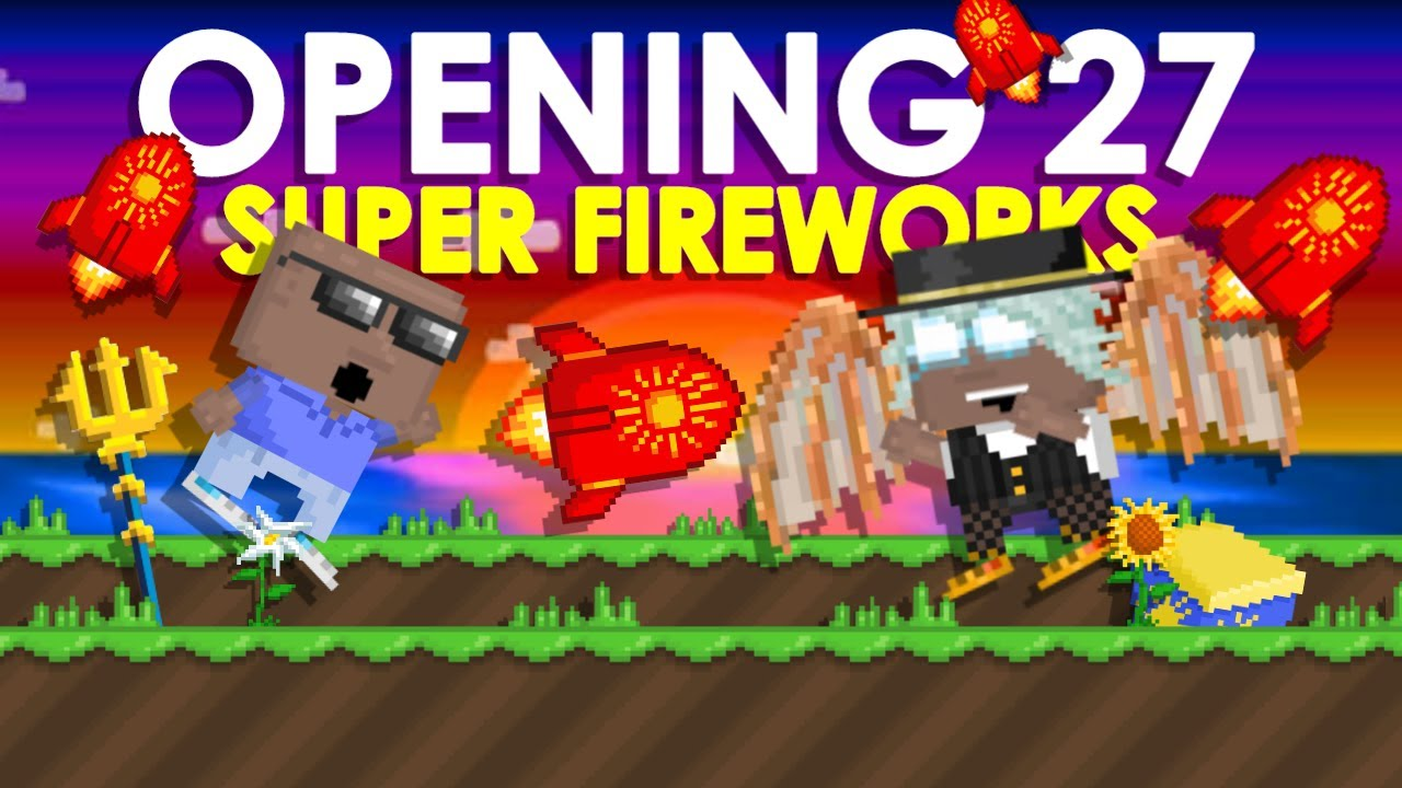 OPENING 27 SUPER FIREWORKS! (Got Neptune's Trident?!) | Growtopia