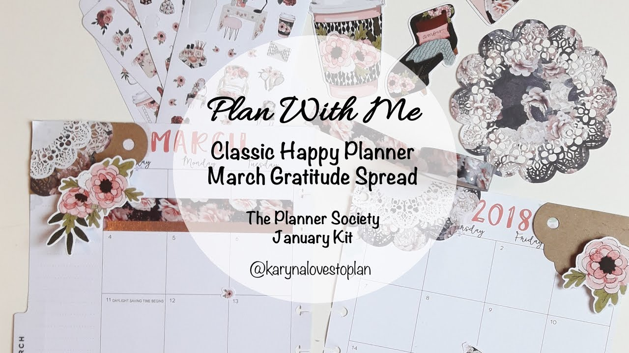 plan with me march gratitude spread classic happy planner the