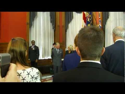 "Prince Charles visits Lieutenant Governor of Ontario - Ruth Ann Onley singing ""God Save the Queen"""