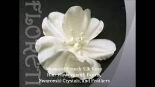 Designer Bridal Hair Accessories Fascinator Silk Flower Roses Thumbnail