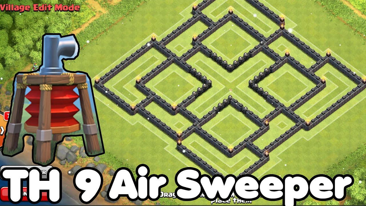 Clash of clans town hall 9 th9 best farming base 2015 air