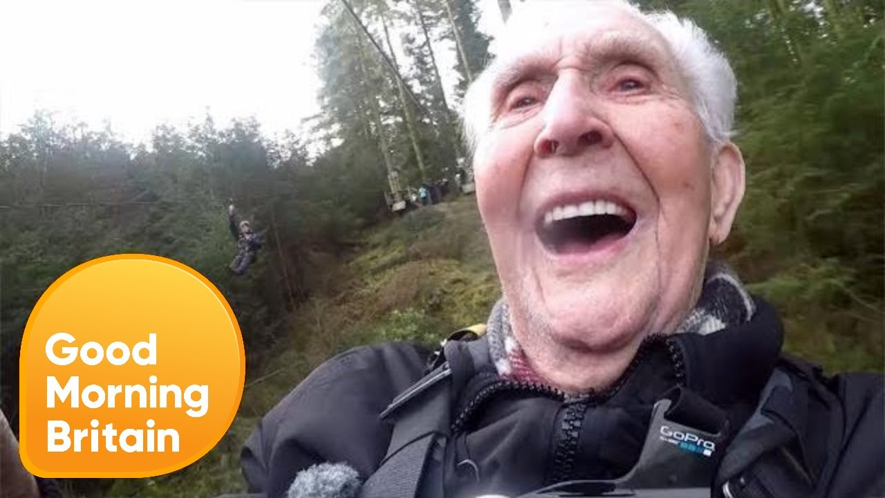 106 year old jack s record breaking zip line ride good morning britain [ 1280 x 720 Pixel ]