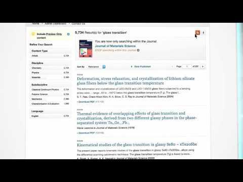 Journals - SpringerLink Tutorial - French
