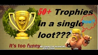 Get huge number of trophies with a single attack in clash of clans in hindi