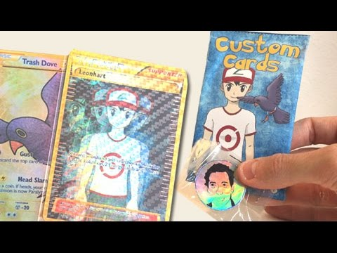 I WAS MADE INTO A POKEMON CARD! - OPENING CUSTOM POKEMON CARDS LEONHART BOOSTER PACKS!