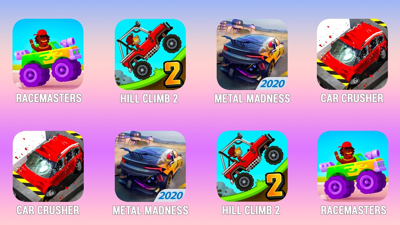RACEMASTERS, Hill Climb 2, Metal Madness, Car Crusher, Walkthrough (Android) | Power of Gameplay
