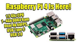Raspberry Pi 4 Is Here! Dual 4K Video Out 1.5Ghz CPU Up to 4GB DDR4 Ram