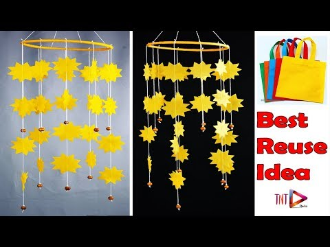 Awesome Carry Bag Chime | Easy DIY Shopping Bags Jhumar | Best Reuse Home Decoration Idea