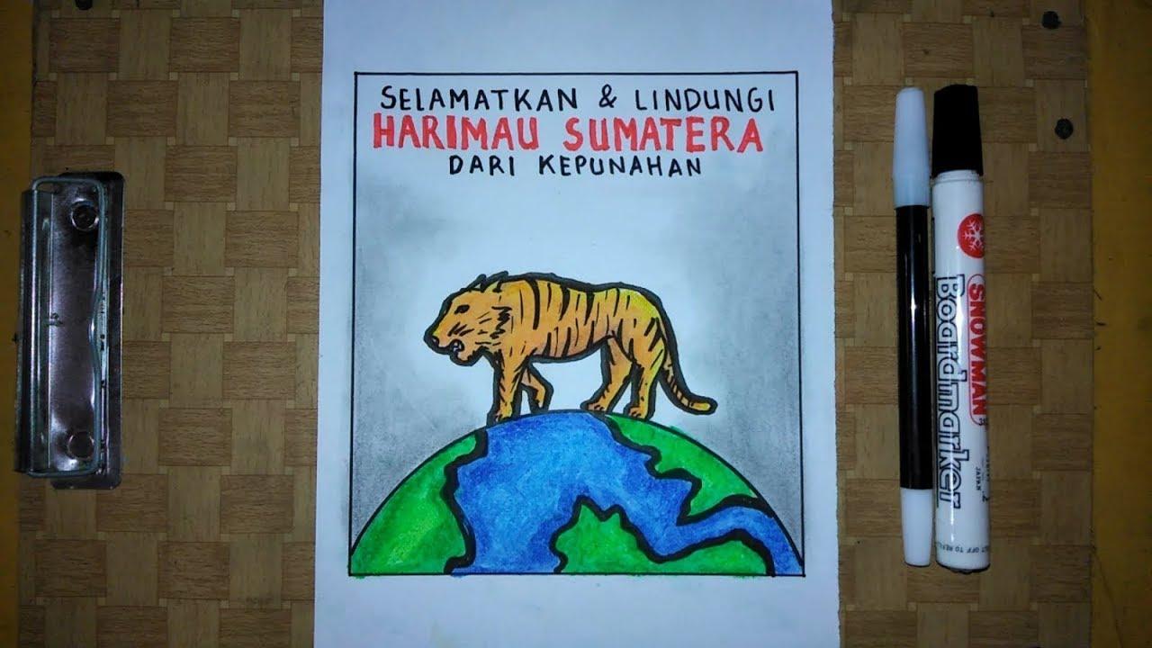 Cara Membuat Poster Hewan Langka Selamatkan Harimau Sumatera Dari Kepunahan Youtube