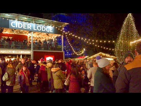 London Walk - South Bank at Christmas incl. Winter Market and Rekorderlig Cider Lodge - England, UK
