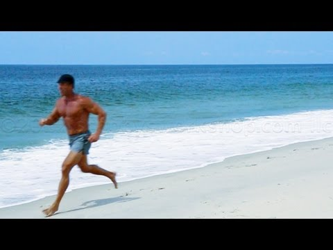 Barefoot running and beach HIIT workout