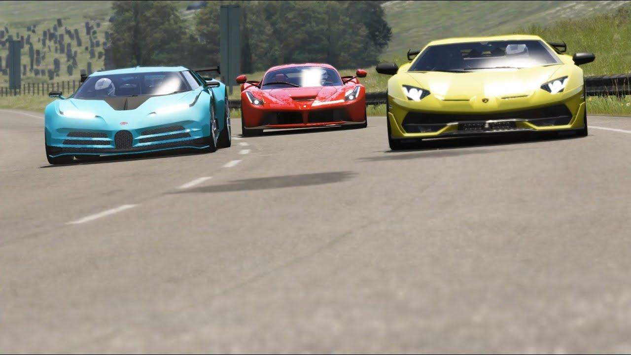 Bugatti Centodieci Vs Lamborghini Aventador Svj Vs Ferrari Laferrari Youtube
