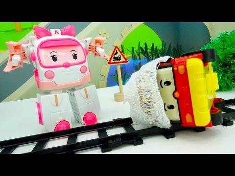 Игрушки робокары. Пожар и авария на переезде. Первая помощь для Робокара Роя. Распаковка Эмбер