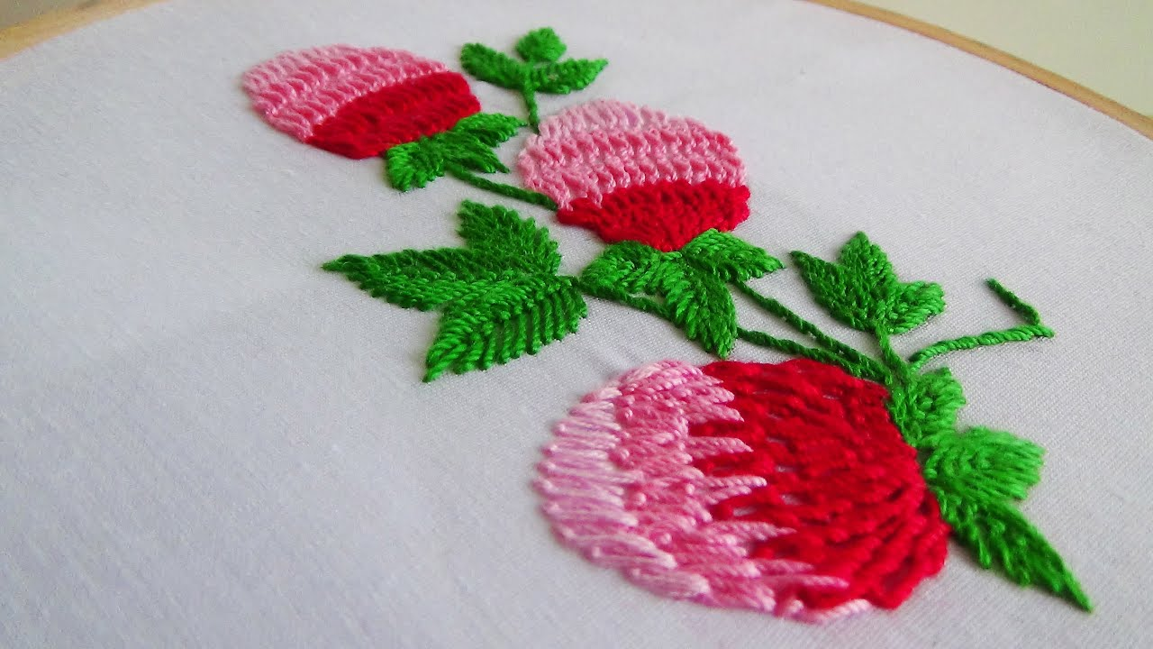 Hand Embroidery Making Flowers With Twisted Chain Stitch