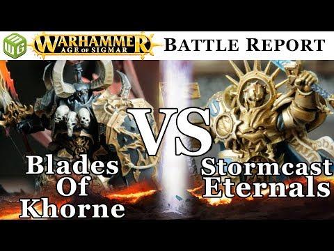 Blades of Khorne vs Stormcast Eternals Age of Sigmar Battle Report - War of the Realms Ep 192
