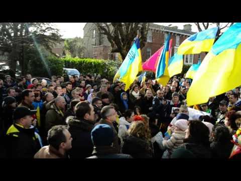 Supporting Ukrainian Revolution in Dublin at the Ukrainian Embassy.
