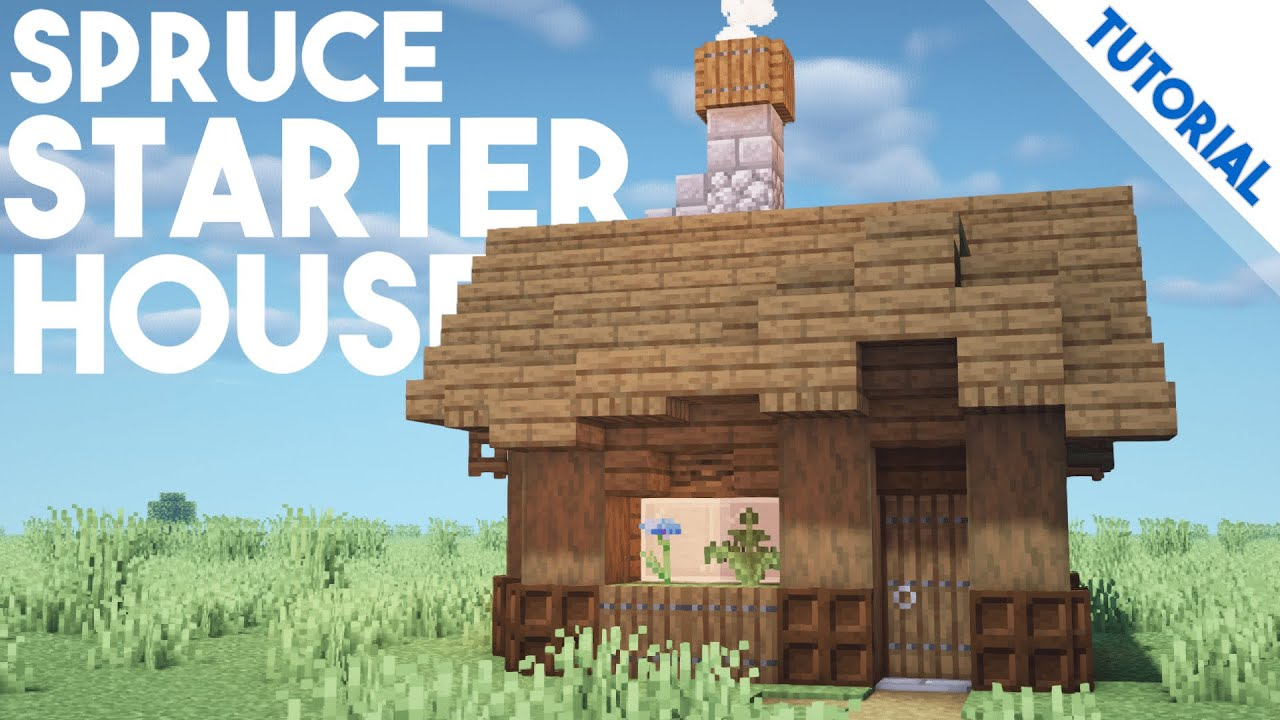 How To Build A Spruce Starter House Minecraft 1 14 Tutorial Youtube