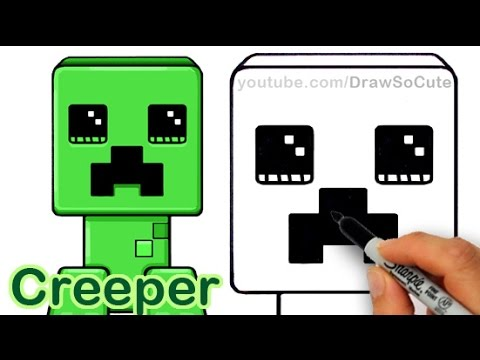 How To Draw A Minecraft Creeper Cute And Easy Youtube