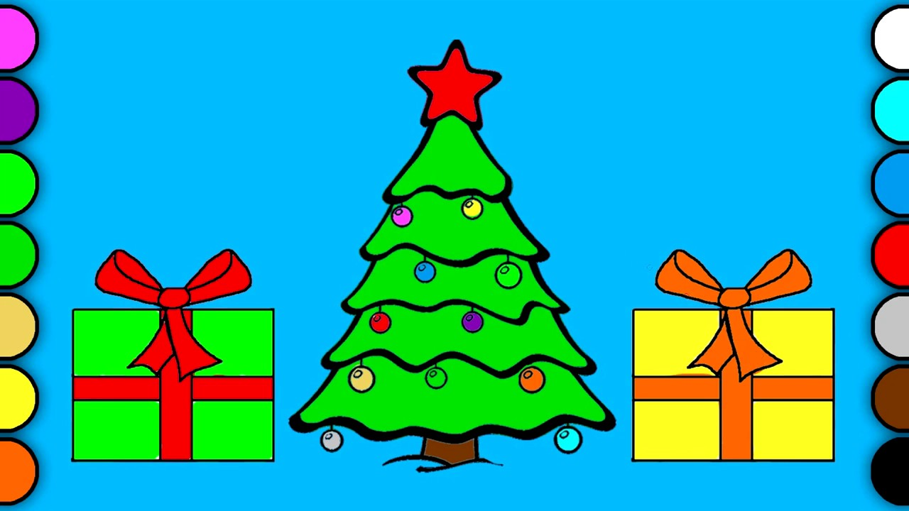 Learn Colors Christmas Tree & Presents Coloring Pages for Kids - YouTube