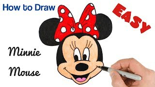 How to Draw Minnie Mouse for kids | Cartoon Drawing