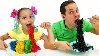 Sofia makes Colored Noodles and cooking breakfast of Black Noodles for Dad