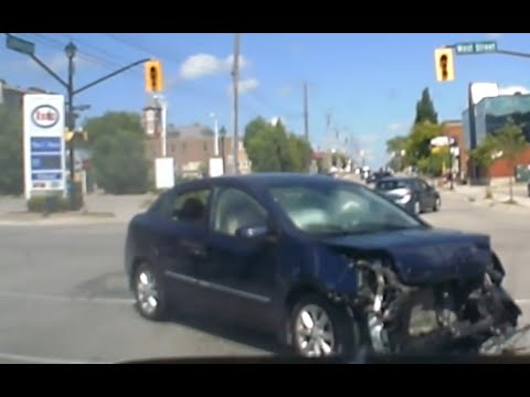 Dash Cam Footage of Accident - Orillia, Ontario, Canada