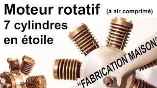 """Moteur Rotatif 7 cylindres en étoile """"fabrication maison"""" (air comprimé)"""