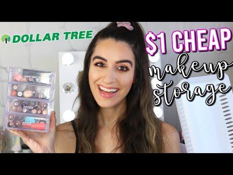 CHEAP DOLLAR TREE MAKEUP ORGANIZATION - AFFORDABLE $1 MAKEUP STORAGE IDEAS!!