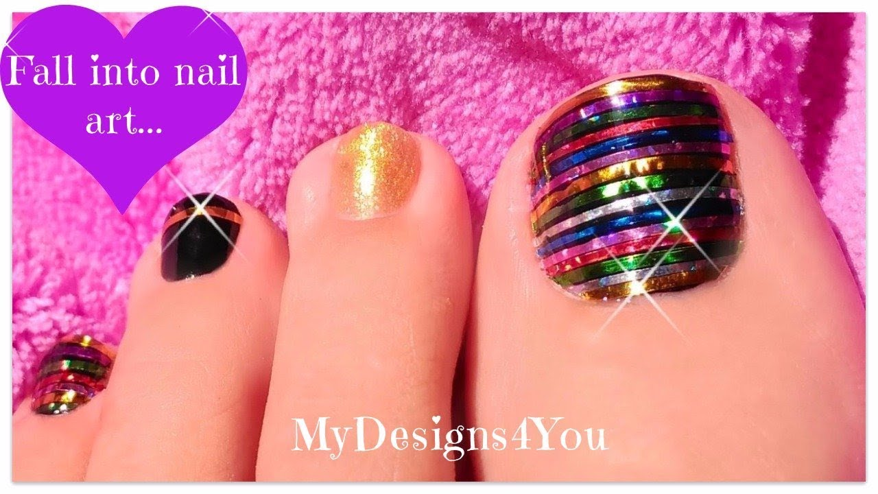 Festive Toe Nail Art | Christmas, New Year\'s Nails ♥ - YouTube