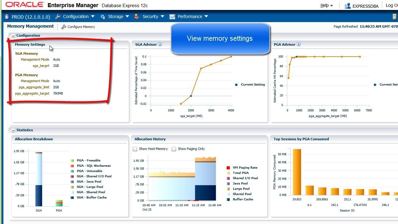 Configure Memory with EM Express 12c