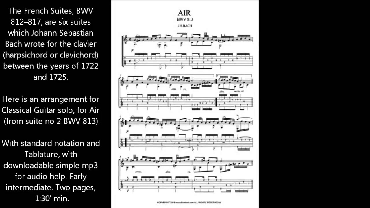 Bach for Guitar Air BWV 813 sheet music download