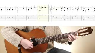 'Study In C Major' - F. Sor. Simple classical guitar piece with score and TAB