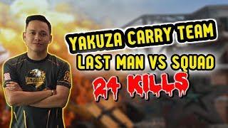 Wow VipYakuza Carry! 24 Kills Last Man Vs Squad Gameplay | PUBG Mobile Malaysia