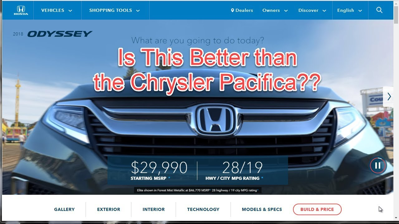2018 Honda Odyssey Configurations Build Your Own Review