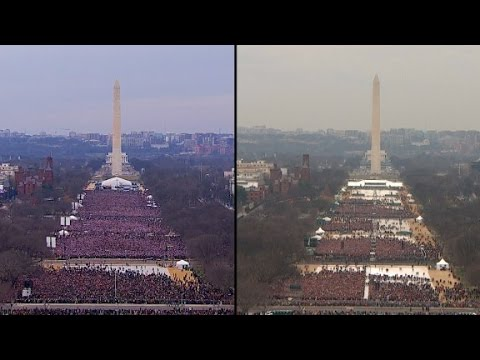 Image result for Images of crowds at Obama and Trump inaugural