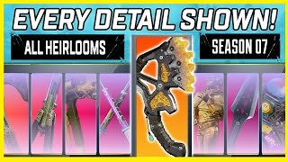 ALL APEX LEGENDS HEIRLOOMS COMPARED - SEASON 7 EDITION (ALL FEATURES, SECRETS & ANIMATIONS)