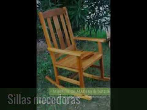 Sillas mecedoras muebles de madera y jard n com youtube for Sillas y sillones para jardin