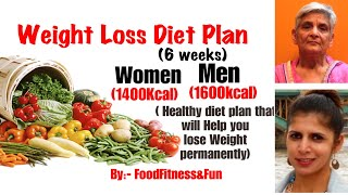 Weight Loss Diet plan for 6 weeks for Men & Women | Healthy diet plan to lose weight permanently