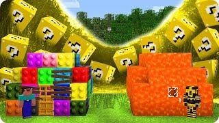 CASA DE LEGO NOOB Y CASA DE LAVA PRO VS TSUNAMI DE LUCKY BLOCKS EN MINECRAFT 😱