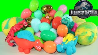 Play doh dinosaurs eggs Jurassic World toys GIANT surprise playdough egg dino blind bags