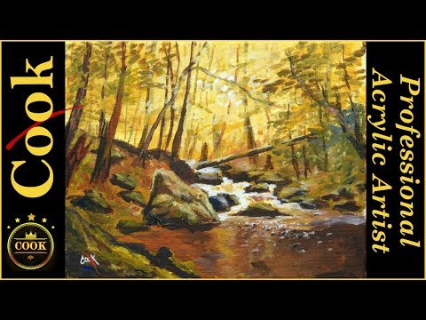 Golden Forest and Bubbling Brook Acrylic Tutorial with Ginger Cook