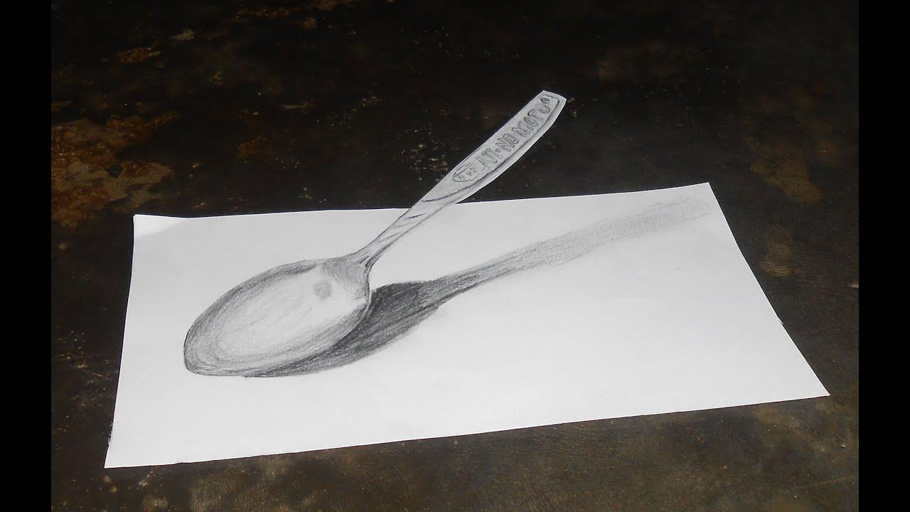 """Melukis dengan pensil Ilusi 3d """"sendok"""" - YouTube"""