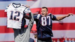 Gronk steals Tom Brady's jersey and Brady tackles him! Fenway Opening Day 2017