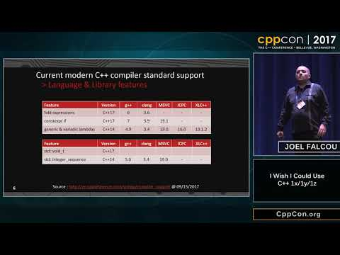 "CppCon 2017: Joel Falcou ""I Wish I Could Use C++ 1x/y/z """