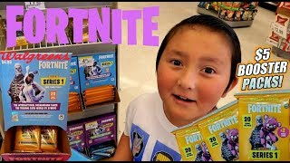 HUNTING FOR NEW FORTNITE BATTLE ROYALE TRADING CARDS! BOOSTER PACK HAUL AT WALGREENS!