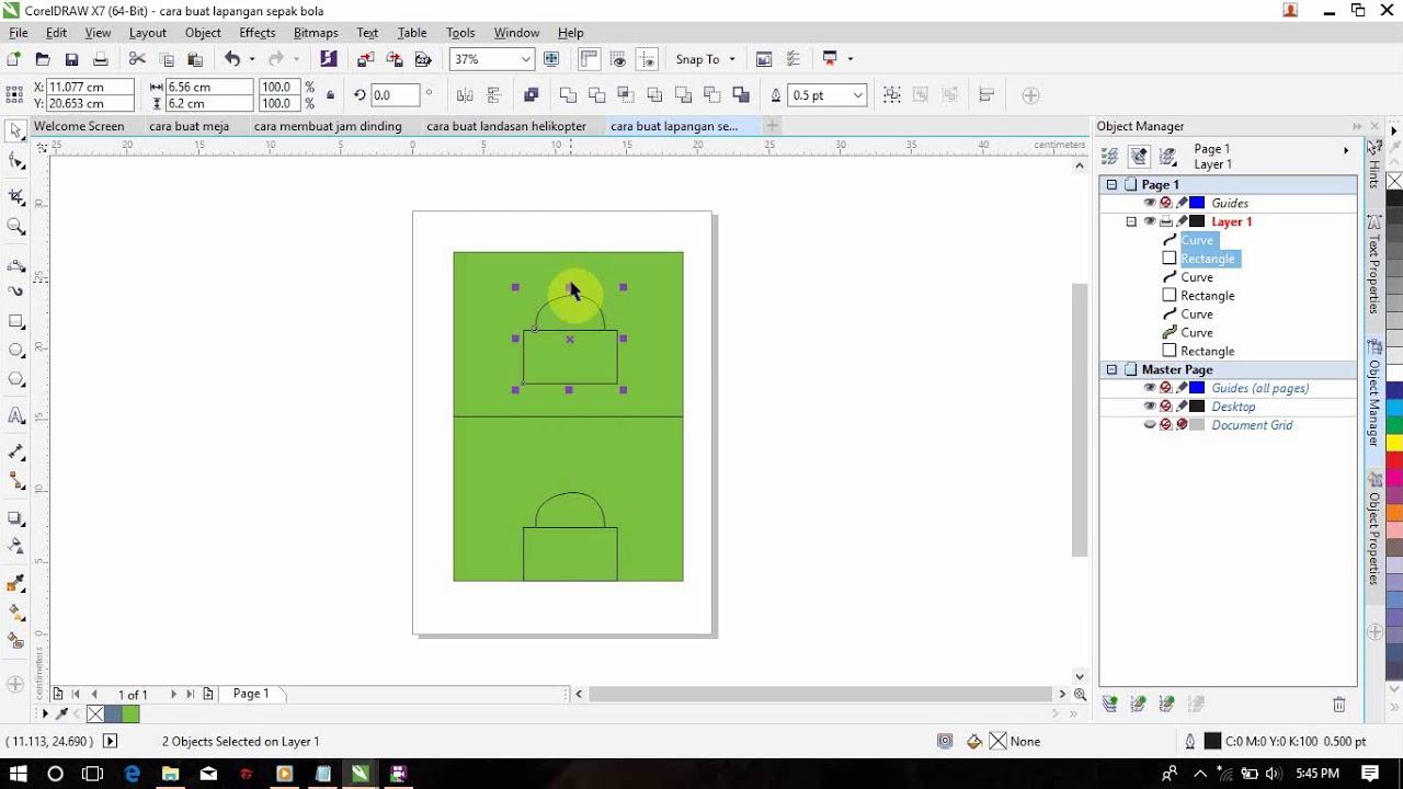 Cara Menggambar Lapangan Sepakbola